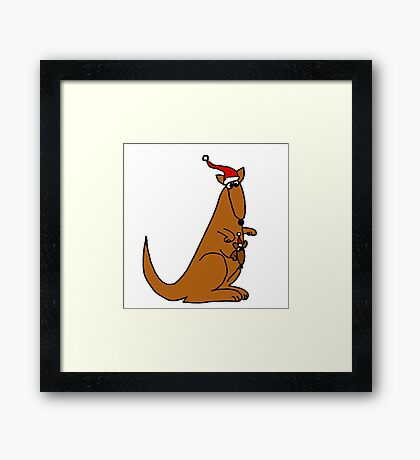 Funny Cool Christmas Kangaroo with Santa Hat Framed Print
