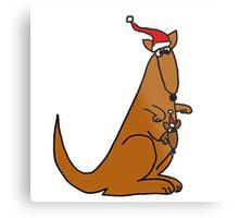 Funny Cool Christmas Kangaroo with Santa Hat Metal Print