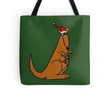 Funny Cool Christmas Kangaroo with Santa Hat Tote Bag