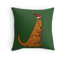 Funny Cool Christmas Kangaroo with Santa Hat Throw Pillow