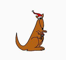 Funny Cool Christmas Kangaroo with Santa Hat Unisex T-Shirt