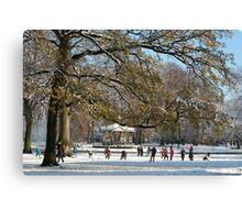 Snow fun under the tree Canvas Print