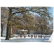 Snow fun under the tree Poster