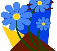 Blu Flowers by Charles Oliver