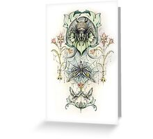 Antique pattern - Spider and Moths Greeting Card