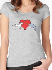 Unicorn Loves Narwhal Women's Fitted Scoop T-Shirt