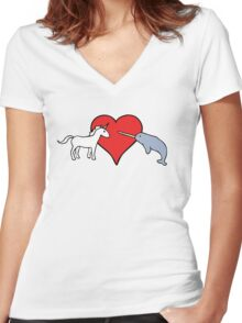 Unicorn Loves Narwhal Women's Fitted V-Neck T-Shirt