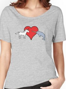 Unicorn Loves Narwhal Women's Relaxed Fit T-Shirt