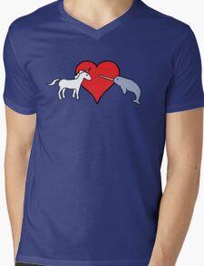 Unicorn Loves Narwhal Mens V-Neck T-Shirt