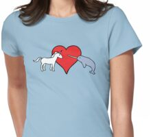 Unicorn Loves Narwhal Womens Fitted T-Shirt