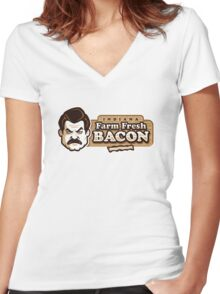 Farm Fresh Bacon Women's Fitted V-Neck T-Shirt