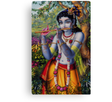 Krishna with flute Canvas Print