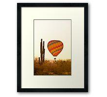 Golden Light Hot Air Balloon And Saguaro Cactus Framed Print