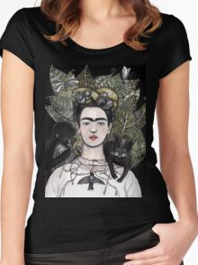 Frida Kahlo self portrait version Women's Fitted Scoop T-Shirt