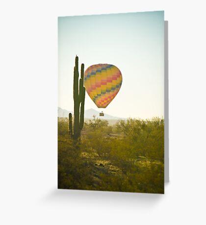 Hot Air Balloon over the Arizona Desert With Giant Saguaro Cactu Greeting Card