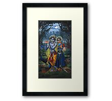 Radha and Krishna on full moon Framed Print