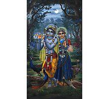 Radha and Krishna on full moon Photographic Print