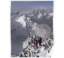 Down climbing on Cholatse, Nepal Poster