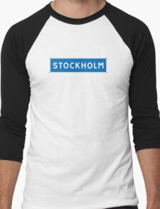 Stockholm, Road Sign, Sweden  Men's Baseball ¾ T-Shirt
