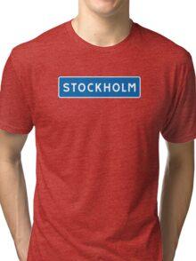 Stockholm, Road Sign, Sweden  Tri-blend T-Shirt