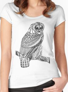 Zentangle Tawny Owl with branch Women's Fitted Scoop T-Shirt