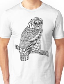 Zentangle Tawny Owl with branch Unisex T-Shirt