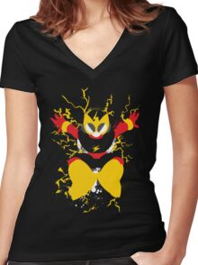 Elec Man Splattery Design Women's Fitted V-Neck T-Shirt