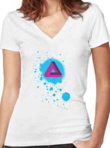 Impossible Triangle Paint Splat Women's Fitted V-Neck T-Shirt