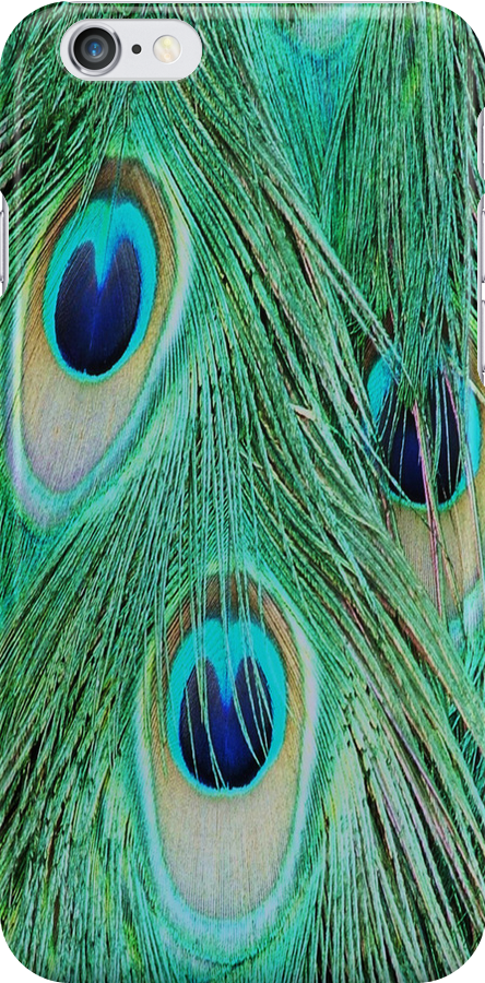 Peacock tail- iphone cover by Martina Fagan