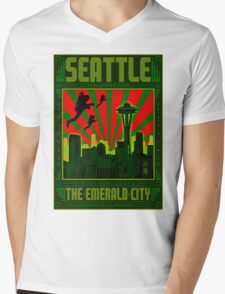 SEATTLE - THE EMERALD CITY Mens V-Neck T-Shirt