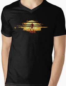 Giant God Warrior - Silhouette Mens V-Neck T-Shirt