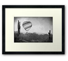 Hot Air Balloon Flight over Southwest Desert BW Fine Art Print   Framed Print