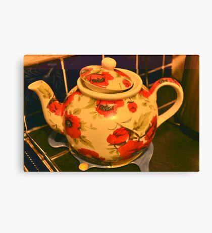 Floral teapot Canvas Print