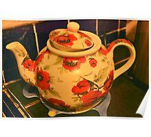 Floral teapot Poster