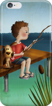 Fishing with a Friend iPhone Case by Kristy Spring-Brown