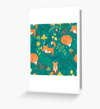 Foxes pattern Greeting Card