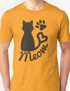 "Black Kitty Cat and ""Meow"" Paw Print T-Shirt"