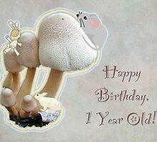 First Birthday Card - Mushroom Playground by MotherNature
