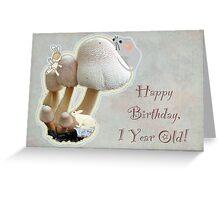 First Birthday Card - Mushroom Playground Greeting Card