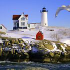 "Cape Neddick ""Nubble"" Lighthouse in the snow by Jeremy D'Entremont"