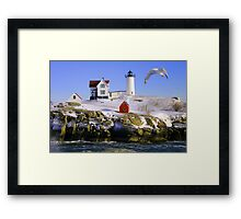 "Cape Neddick ""Nubble"" Lighthouse in the snow Framed Print"