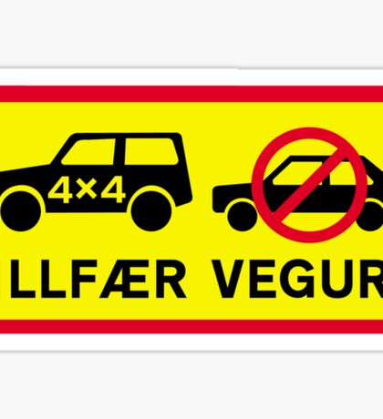 Difficult Road, Traffic Sign, Iceland Sticker