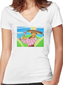 Groovy Brock Women's Fitted V-Neck T-Shirt