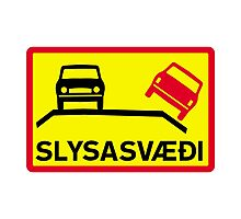 Accident Risk Area, Traffic Sign, Iceland Photographic Print