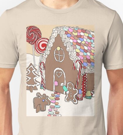 Moose at a Gingerbread House Party Unisex T-Shirt