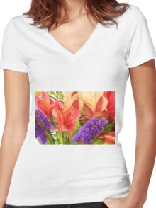 Colorful Bouquet of Flowers Women's Fitted V-Neck T-Shirt