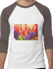 Colorful Bouquet of Flowers Men's Baseball ¾ T-Shirt