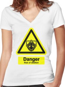 Cyberman Danger! Women's Fitted V-Neck T-Shirt