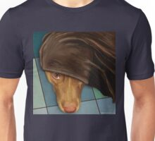 Painting of a Cute Red Nose Pitbull under a Blanket  Unisex T-Shirt