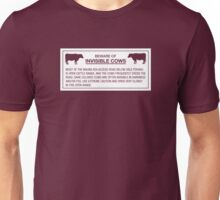 Beware of Invisible Cows, Sign, Hawaii, US - Contrast Version Unisex T-Shirt